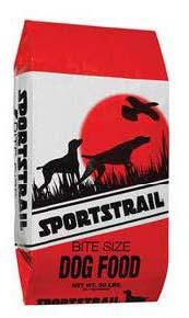 "Image 63. ""Sportstrail, bite size dog food, Front Label"""