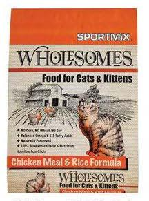 "Image 66. ""Sportmix Wholesomes Food for Cats & Kittens, Chicken Meal & Rice Formula, Front Label"""