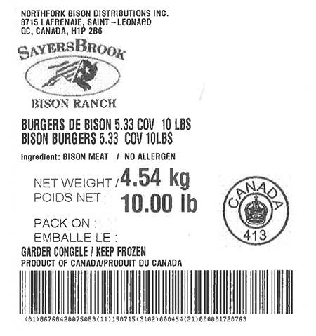 Product labeling Northfork Bison Distributions Inc. Bison Ground regular, Net Weight 10 LB