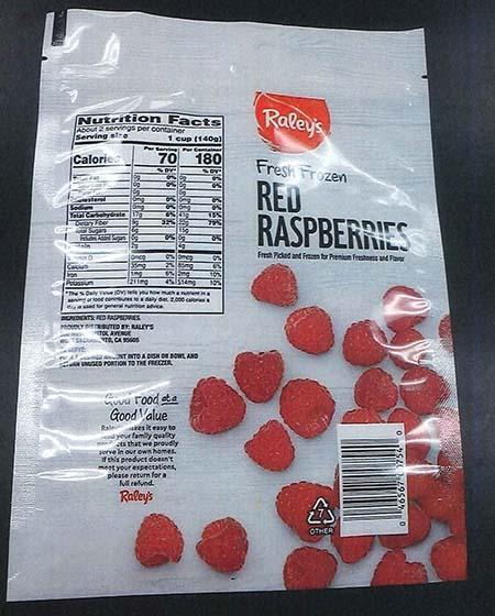 Back label Raley's Fresh Frozen Red Raspberries 12 oz bag