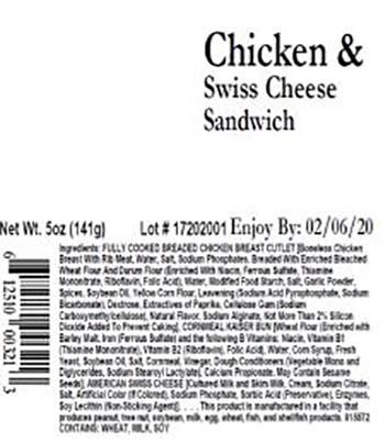 Product labeling, Premo Chicken & Swiss Cheese Sandwich 5oz