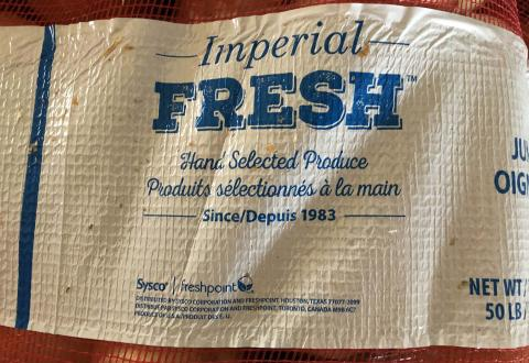 """Product label, Imperial Fresh 50 LBS mesh sack"""