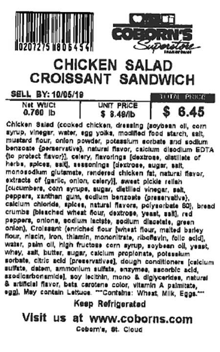 Label, Chicken Salad Croissant Sandwich