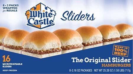 White Castle microwaveable 16 pack hamburgers