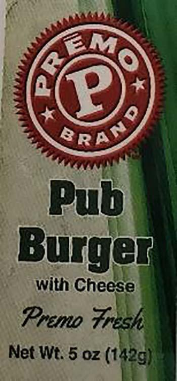 Product labeling, Premo Pub Burger with Cheese 5oz