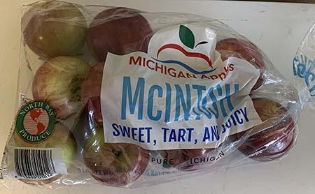 """McIntosh North Bay Produce Michigan Apples 3lb. Plastic Bag"""