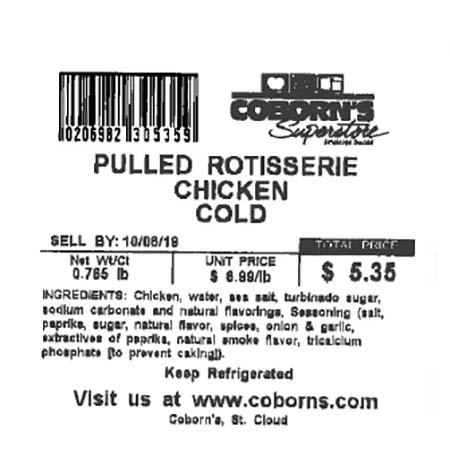 Label, Pulled Rotisserie Chicken Cold