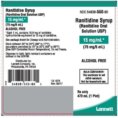 Product label, Ranitidine Syrup (Ranitidine Oral) 15 mg/mL, Alcohol free Rx only
