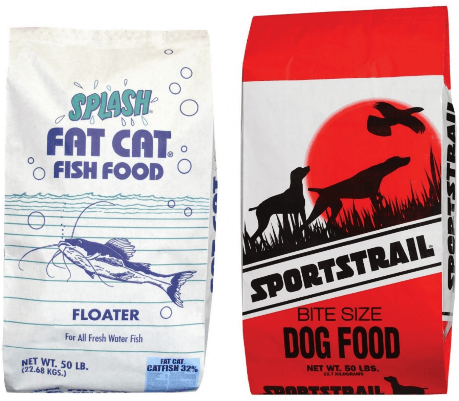 (L) SPLASH FAT CAT FISH FOOD, FLOATER (R) SPORTSTRAIL, BIT SIZE, DOG FOOD