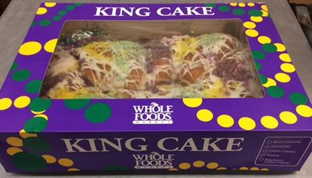 King Cake in Whole Foods box