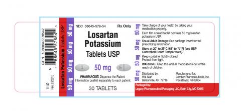 Losartan Potassium Tablet USP 50 mg, product label