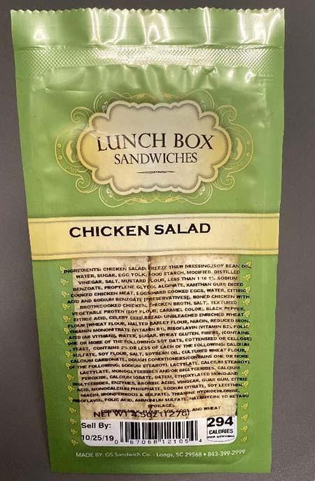 Label, Lunch Box Sandwiches Chicken Salad (fresh)