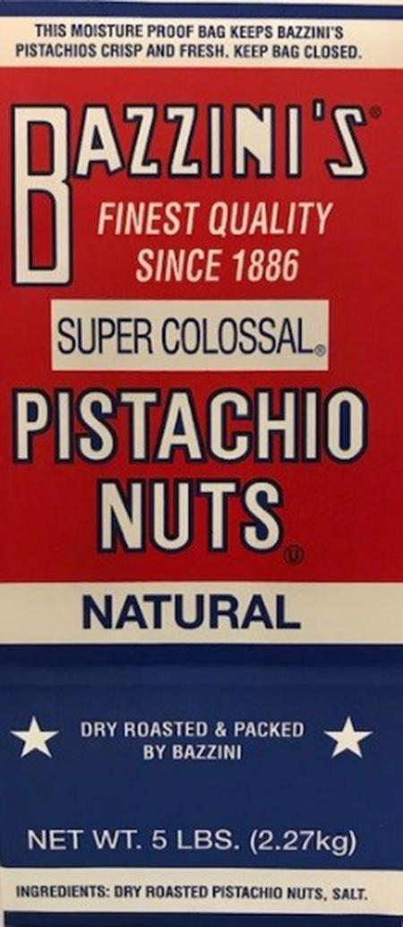 Label, Bazzini's Super Colossal Pistachio Nuts, 5 lb