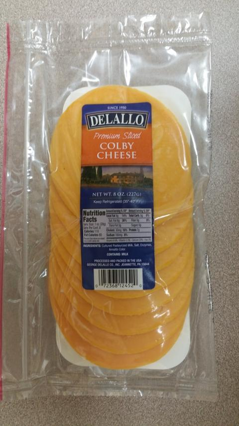 Label, Delallo Premium Sliced Colby Cheese