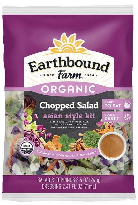 Label, Earthbound Farm Organic Chopped Asian Style Salad Kit