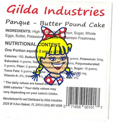 Label, Gilda Industries Panque – Butter pound cake