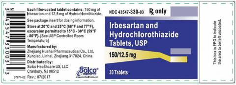 Label, Irbesartan HCTZ 150 mg 12.5 mg strength, 30 count bottle