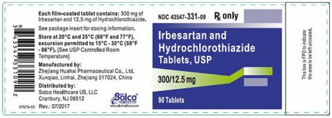 Label, Irbesartan HCTZ 300 mg 12.5 mg strength, 90 count bottle