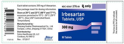 Label, Irbesartan Tablets 300 mg, 90 count bottle