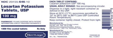 Label, Losartan Potassium Tablets, 100 mg, 1000 count