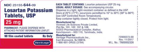 Label, Losartan Potassium Tablets, 25 mg, 90 count