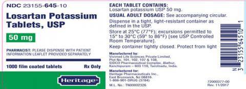 Label, Losartan Potassium Tablets, 50 mg, 1000 count