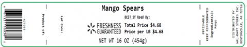 Label, Mango Spears 16 oz.