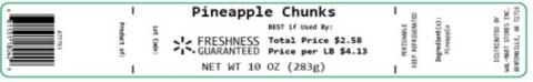 Label, Pineapple Chunks 10 oz.
