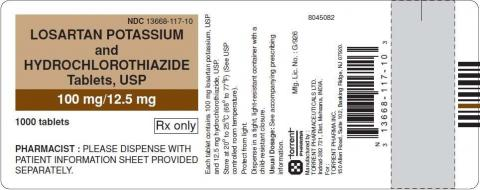 Label, losartan potassium and hydrochlorothiazide tablets 100 mg/12.5 mg, 1000 count