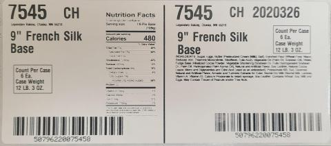Case label, French Silk Pie