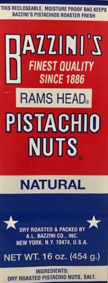 Label. Bazzini's Rams Head Pistachio Nuts, 16 oz