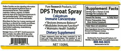 Labeling, Pure Research Products, LLC DPS Throat Spray