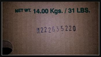 Lot code on carton of Maradol Papayas