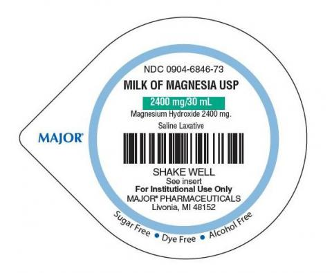 Milk of Magnesia label, top view