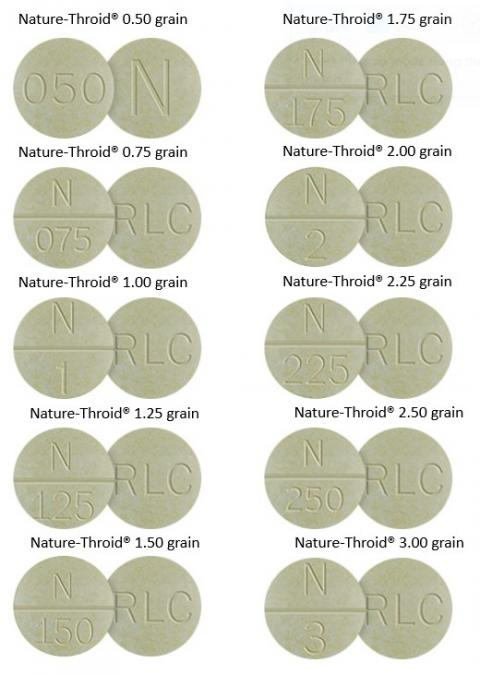 Photo of Nature-Throid pills in 0.50, 0.75, 1.0, 1.25, 1.50, 1.75, 2.00, 2.25, 2.50, 3.00 grain