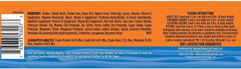 Natural Balance® Ultra Premium Chicken & Liver Paté Formula, label