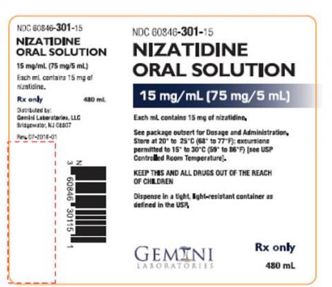 Label of Nizatidine Oral Solution 15 mg/mL