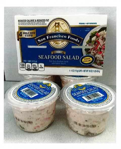 Package of 4 cups, San Francisco Foods Seafood Salad