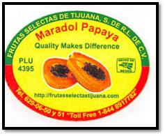 Packer's label, Maradol Papayas