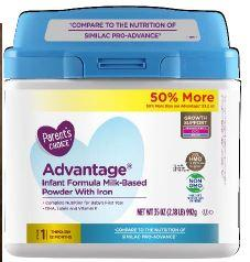 Primary Display Panel:  Parent's Choice Advantage Infant Formula Milk Based Powder with Iron