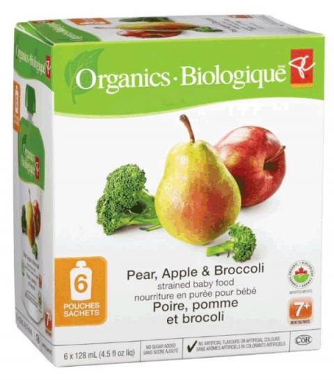 Pear, Apple and Broccoli - strained baby food - 6x128 millilitre