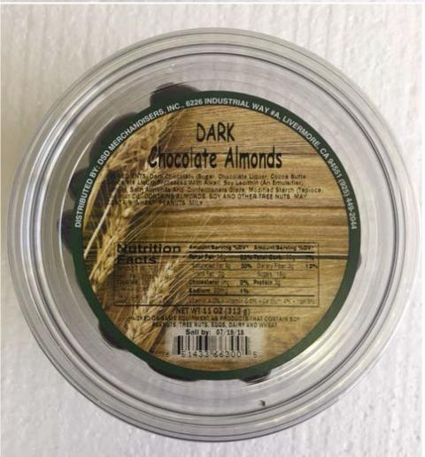 Photo Container Top with Label Dark Chocolate Almonds