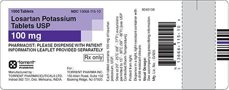 Purple/White Label, Losartan potassium tablets, 100mg, 1000 count