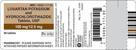 Brown/White Label, losartan potassium and hydrochlorothiazide tablets 100 mg/12.5 mg, 90 count