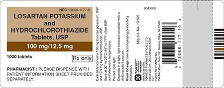 Brown/White Label, losartan potassium and hydrochlorothiazide tablets 100 mg/12.5 mg, 1000 count