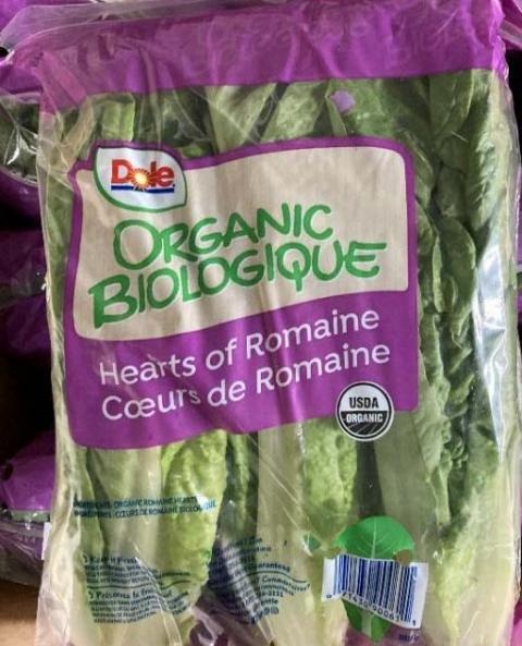 Front Package – Dole Organic Hearts of Romaine,  Biologique Coeurs de Romaine