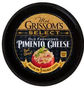 """Mrs. Grissom's Select Old Fashioned Pimento Cheese lid (correct label)"