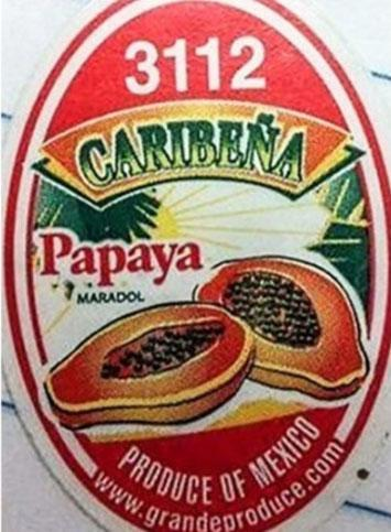 """Caribena Papaya Maradol label"""