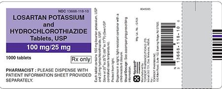 Purple/White Label, losartan potassium and hydrochlorothiazide tablets 100 mg/25 mg, 1000 count