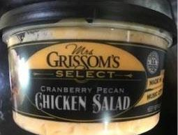 """Incorrect side label, Mrs. Grissom's Select Cranberry Pecan Chicken Salad"""